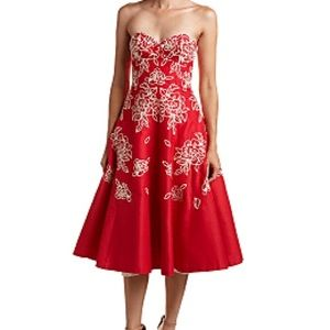 Tracy Reese red strapless dress with embroidery